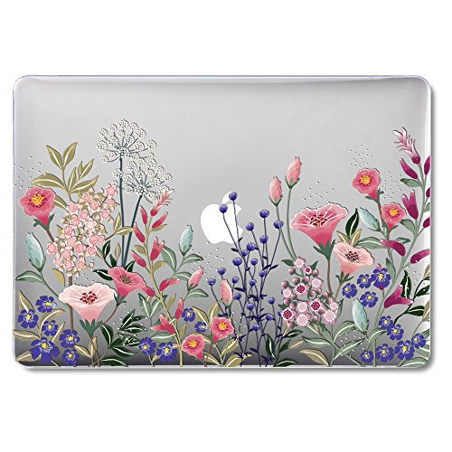 GMYLE Clear Glossy Crystal Plastic Hard Case Cover for Old MacBook Pro 13 Inch with Retina Display No CD-ROM (A1502/A1425, Version 2015/2014/2013/end 2012), Pink Plum Blossom Floral Garden