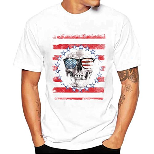 Bokeley Men's Tees Skull Graphic Short Sleeve Round Neck T-Shirt (L)