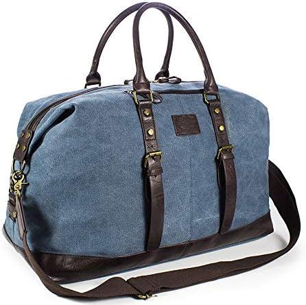 紳士ハンドバッグ メンズファッションミニマキャンバス荷物トラベルボストンバッグ防水トートバッグジムスポーツのためのメンズ・レディース・トラベルショルダーバッグ特大 便利で多用途 (色 : Blue, Size : 54x23x25cm)
