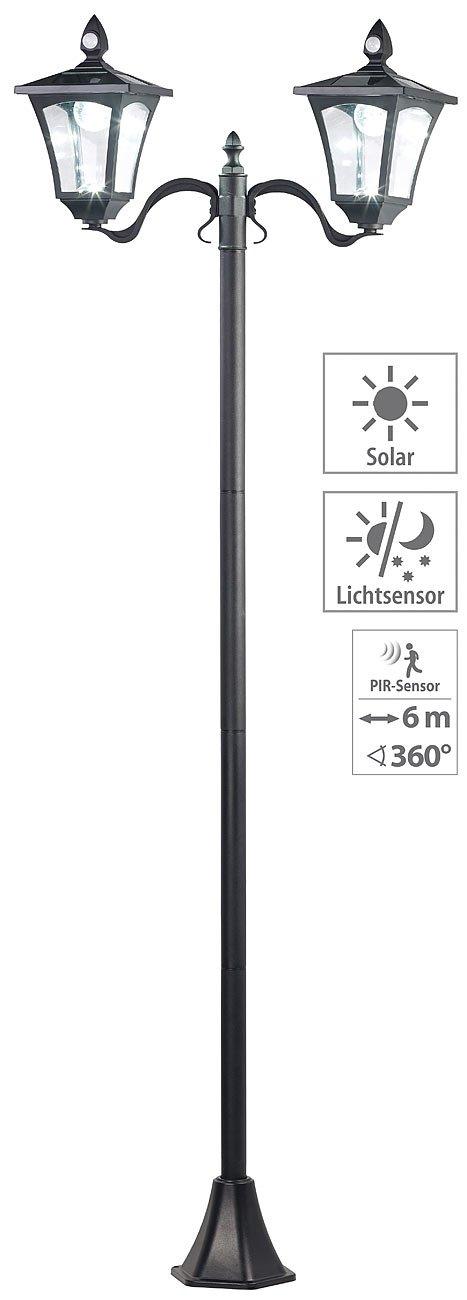 Royal Gardineer Gartenlampe: Solar-LED-Gartenlaterne, 2 flammig, PIR- & Dämmerungssensor, 200 Lumen (Lampe mit Bewegungsmelder)