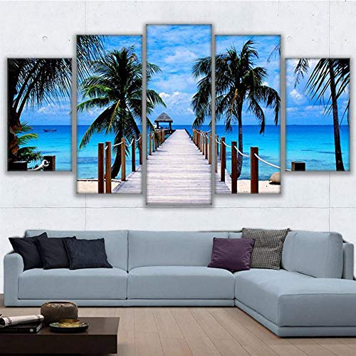 Yyjyxd HD Print Canvas Painting Home Decorative Framework Modular Picture 5 Panel Bali Elephant Park Landscape Poster-12x16/24/32inch,with Frame -
