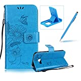 Strap Leather Case for Samsung Galaxy A3 2017 A320,Wallet Flip Case for Samsung Galaxy A3 2017 A320,Herzzer Bookstyle Stylish Brilliant Blue Butterfly Sunflower Ants Pattern Stand Magnetic Smart Leather Case with Soft Inner for Samsung Galaxy A3 2017 A320 + 1 x Free Blue Cellphone Kickstand + 1 x Free Blue Stylus Pen
