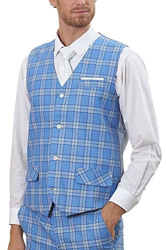 - Hanayome Men's Vest V-Nek 4 Buttons Blue Tartan Casual Suit Waistcoat with Buckle SI92-VS (Blue,L)