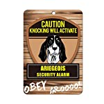 Aluminum Metal Sign Funny Knocking Will Activate Ariegeois Dog Informative Novelty Wall Art Vertical 8INx12IN 4