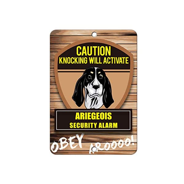Aluminum Metal Sign Funny Knocking Will Activate Ariegeois Dog Informative Novelty Wall Art Vertical 8INx12IN 1