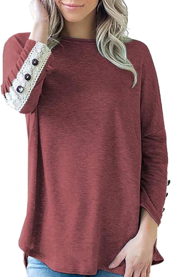 Zantt Womens T-Shirt Lace Stitch Loose Casual Long Sleeve Blouse T-Shirt Top
