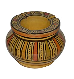 Ceramic Ashtrays Hand Made Moroccan smokeless Ceramic Vivid Colors Large