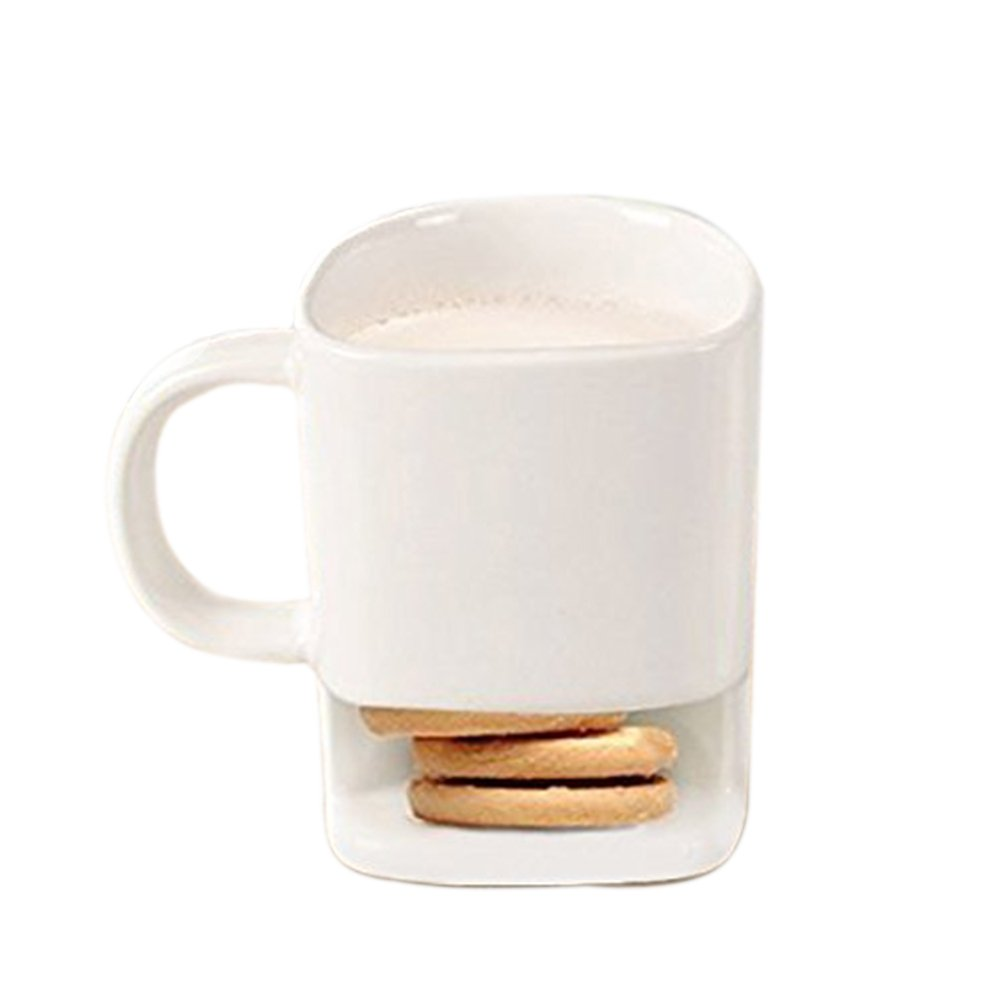 250ml Breakfast Mug - Ceramic Cookies Mug with Biscuit Holder fujia