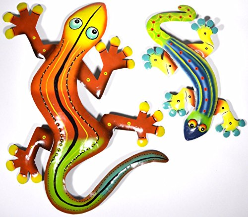 LARGE Beautiful Unique Set of 2 Geckos Lizard Metal Tropical Island Wall Art Tropical Gecko Lizard Wall