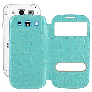 Crocodile Texture Flip Leather Case with Plastic Replacement Back Cover for ID Call pantalla Samsung Galaxy SIII i9300 (Blue)