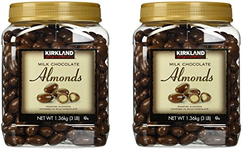 Kirkland Signature Milk Chocolate Roasted Almonds Jars [Pack of 2, 3LBS (48 Oz) -