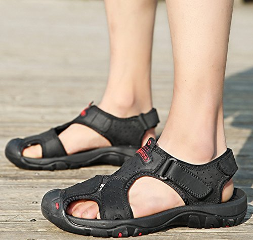 Hombres Zapatillas de Playa Zapatos de Exterior Verano Respirables para Chanclas Marrón Cuero de Ocasionales Sandalias de Slip gWU7twfgq