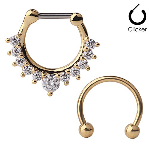 Ruifan 16G Horseshoe Circular Barbell and Nose Ear Daith Septum Clicker Ring with Clear CZ Gems 316L Surgical Steel 2PCS - Gold