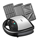 Aicok Sandwich Maker, Waffle Maker, Sandwich Grill, 800-Watts, 3-in-1 Detachable Non-stick Coating, LED Indicator Lights, Cool Touch Handle, Anti-Skid Feet, Black
