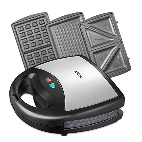 Aicok Sandwich Maker, Waffle Maker, Sandwich Grill, 800-Watts, 3-in-1 Detachable Non-stick Coating, LED Indicator Lights, Cool Touch Handle, Anti-Skid Feet, Black ()