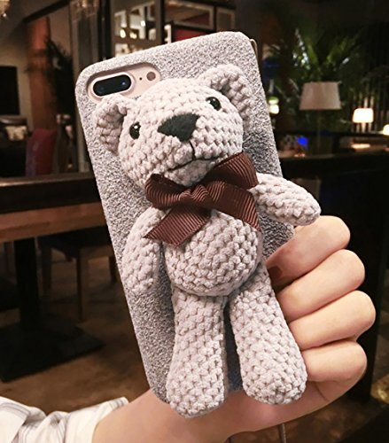 UnnFiko iPhone 7 Plus Case, Plush Doll Teddy Cute Bear Stand Brackets, Flannel Soft Case for iPhone 8 Plus with Lanyard (Gray, iPhone 7 Plus / 8 Plus)