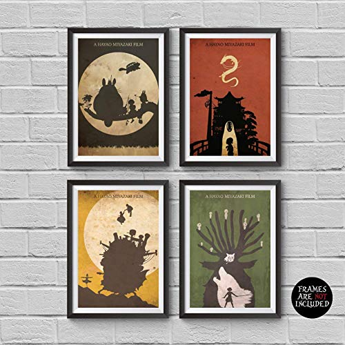 Away Wall Art - Hayao Miyazaki Minimalist Poster Set 4 My Neighbor Totoro Spirited Away Howl's Moving Castle Princess Mononoke Print Japanese Anime Illustration Manga Wall Artwork Home Decor Hanging Cool Gift
