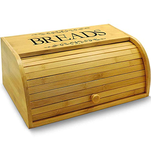 - Cookbook People Original Rolltop Bread Box Bamboo Storage Bin