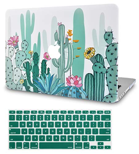"""KECC Laptop Case for MacBook Air 13"""" w/Keyboard Cover Plastic Hard Shell Case A1466/A1369 2 in 1 Bundle (Cactus 3)"""