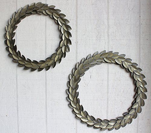 Urban Legacy Metal Leaf Wreath, Set of 2, Gold Brushed (21 inches and 18 inches) ()