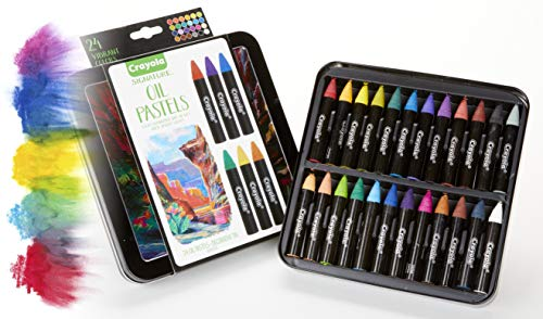 (Crayola Oil Pastel Set with Decorative Case, Water-Soluble, Great For Watercolor Effects, 24 Colors)