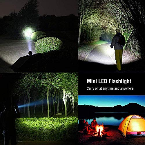 5 Modes Akale Rechargeable LED Flashlight Camping, Hiking, and Cycling Use Zoomable Pocket-Sized LED Torch Indoors and Outdoors IP65 Water Resistant Super Bright 400 Lumens CREE LED 2 PACK