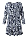 Veranee Women's Plus Size Swing Tunic Top 3/4 Sleeve Floral Flare T-Shirt (XXX-Large, 16-21)