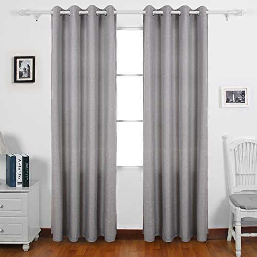 Deconovo Faux LinenGrommetCurtainPanel GrommetDrapes WindowPanels CurtainPair ThermalCurtains for Living Room 52 x 95 Inch Light Grey 2 Panels
