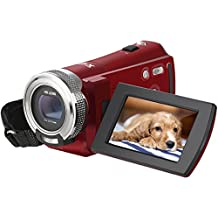 Video Camcorder, Besteker 1280x720P Camera Camcorder 16X Zoom 16MP Video Camera with 2.7 inches TFT LCD Screen Support 270 Degree Rotation (Red)