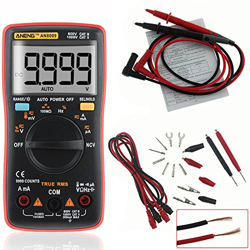 Price comparison product image RISHIL WORLD ANENG AN8009 True RMS NCV Digital Multimeter 9999 Counts Backlight AC DC Current Voltage Tester Single Item.