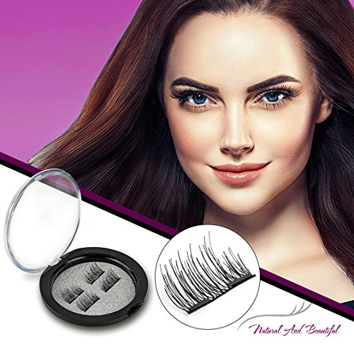 Bauttf Magnetic Eyelashes Glue-free Dual Magnets Natural False Eyelashes 3D Reusable Full Eye Fake Lashes Extensions Natural Look False Lashes (1 Pair 4 (Jet Magnet)