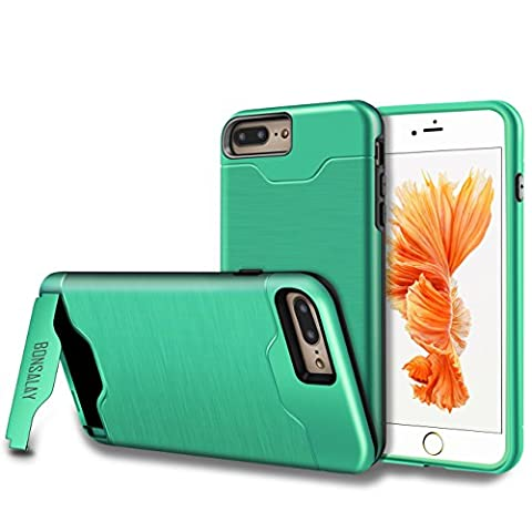 iPhone 7 Plus Case, [Card Slot] [KickStand] bonsalay Dual Layer Soft TPU&Hard PC Shockproof Anti-Scratch Cases Cover with Hybrid Cover For Apple iPhone 7 Plus(2016)- Mint (One Direction Phone Case Cheap)