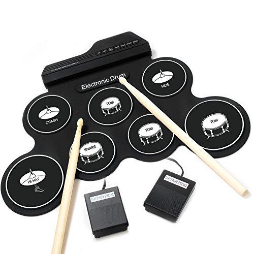 [해외] iWord 전자 드럼 세트 전자 드럼 7음색 8데모곡 7 개드럼 패드 메트로놈 기능 외부 음원 입력 가능 페달 스틱 부착 연습/초심자/입문/아이/장난감 어디에서라도 드럼