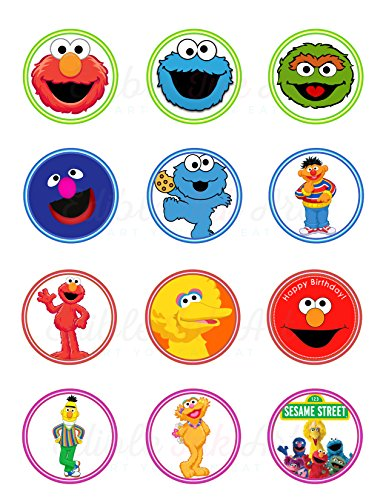 Sesame Street, Elmo, Cookie Monster, Abby, Bert, Ernie Big Bird Edible Cupcake Toppers (12 Images) Cake Image Icing Sugar Sheet Edible Cake Images ~ Best Quality Edible Images for Cupcakes