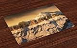 Ambesonne Mountain Place Mats Set of 4, Surreal Saturated Photo of The Italian Twin Mountain Peaks with Silent Overcast Sky, Washable Fabric Placemats for Dining Room Kitchen Table Decor, Sepia