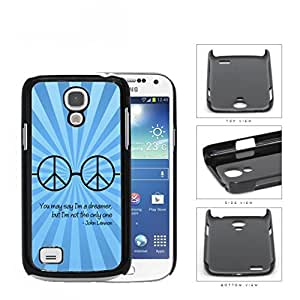 Dreamer John Lennon Quote with Peace Hippie Sunglasses (Blue Swirls) Samsung i9190 Galaxy S4 Mini Hard Snap on Plastic Cell Phone Cover