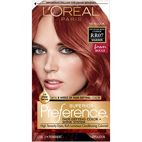 L'Oréal Paris Superior Preference Fade-Defying + Shine Permanent Hair Color, RR-07 Intense Red Copper, 1 kit Hair Dye (Best Copper Red Hair Dye For Dark Hair)
