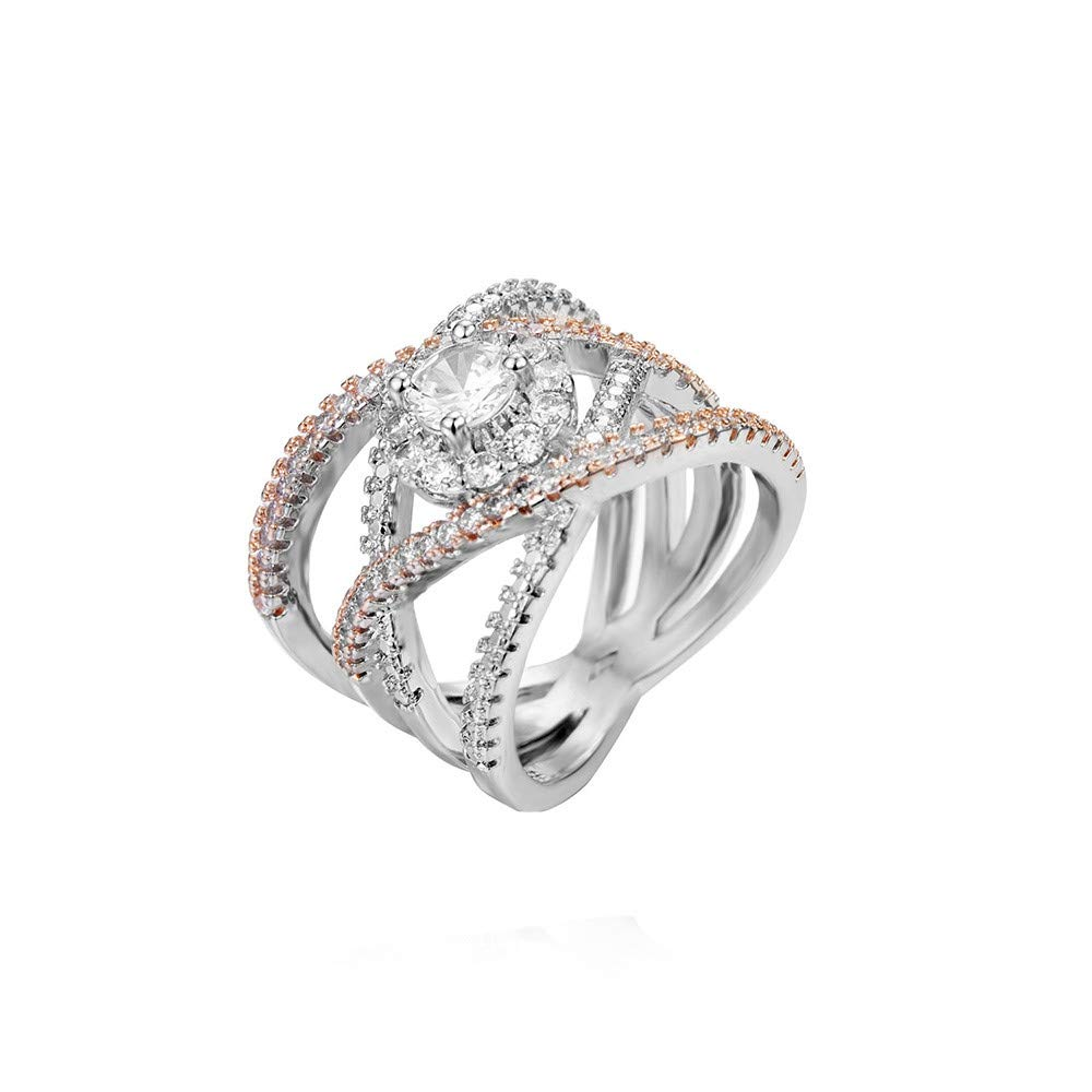 Valentine's Day Gift-Women Fashion Diamond Cylindrical Rings Fine Ring Size 6/7/8/9/10 (as show, US size 6)