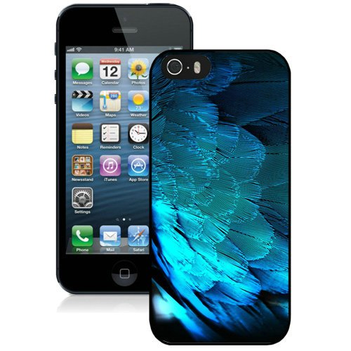 Coque,Fashion Coque iphone 5S Blue Hd Peacock Feathers Noir Screen Cover Case Cover Fashion and Hot Sale Design