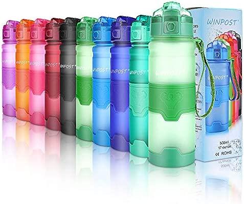 Botella de agua deportiva, 500ml & 700ml y 1000ml-BPA Botella ecológica de plástico Tritan con filtro, tapa abatible, se abre con 1 clic, reutilizable ...