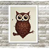 Spirit Up Art Owl with coffee beans, Photography Poster Art Print, Canvas Wall Art for Home Decoration, 10*14 inch #20-87