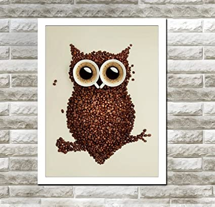 Amazon.com: Spirit Up Art Owl with coffee beans, Photography Poster ...