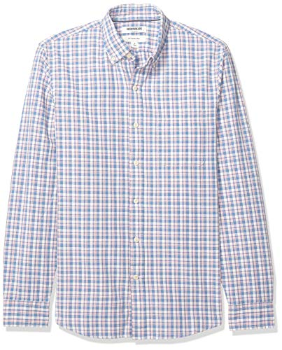 (Goodthreads Men's Slim-Fit Long-Sleeve Plaid Chambray Shirt, Denim Pink Check, Medium)