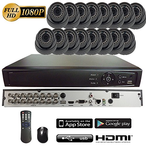 101AV 16CH 4in1 (TVI, AHD, Analog, IP) True Full HD 1080P Digital Video Recorder DVR w/o HDD+ 16 of 1080P 4in1 (TVI AHD CVI CVBS) 2.8-12mm lens WDR In/Outdoor Dome Cameras for Home Office Security