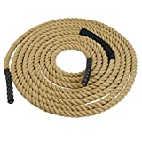 Super Deal Upgraded Manila Rope 1.5'' X 50 FT Fitness/Undualation Workout Climbing Jump Battle Rope 3 Strand w/Shirk End Caps (#4)
