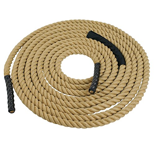 Super Deal Upgraded Manila Rope 1.5'' X 50 FT Fitness/Undualation Workout Climbing Jump Battle Rope 3 Strand w/Shirk End Caps (#4) by Super Dea
