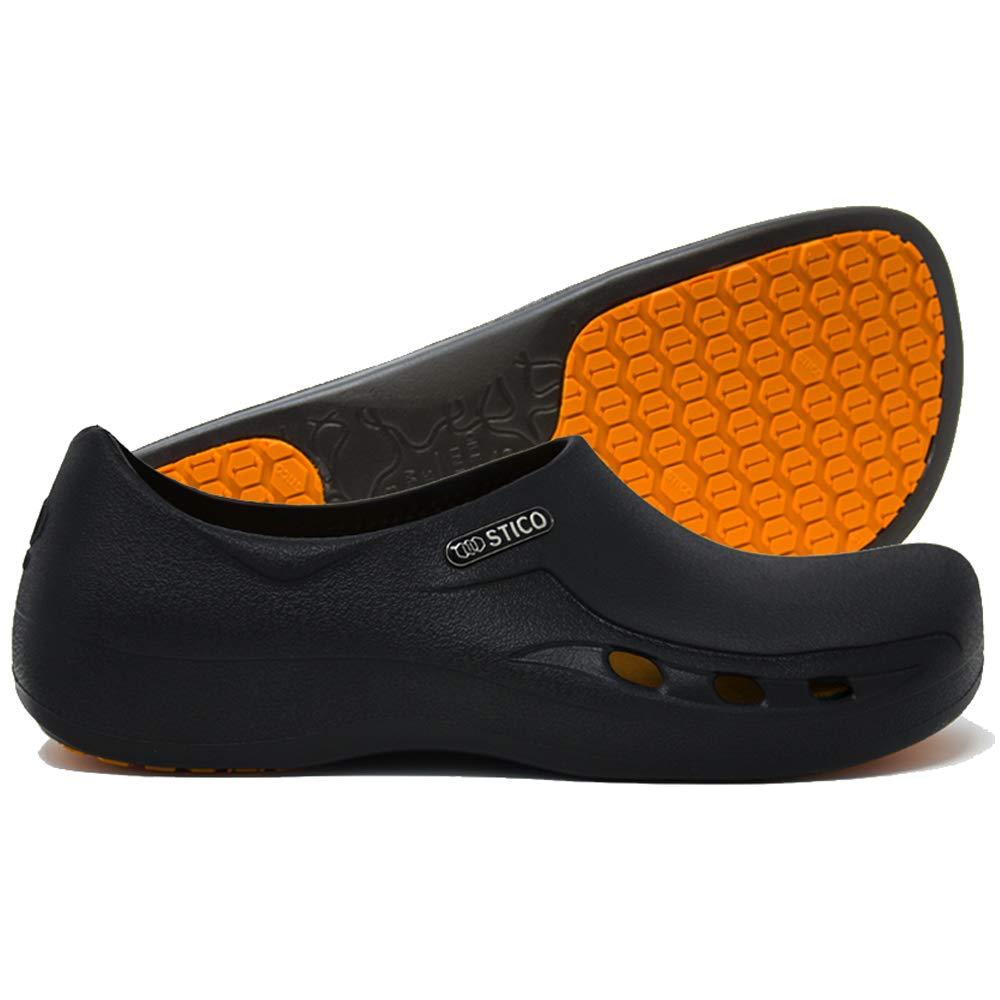 Stico Men's Slip Resistant Chef Clogs, Professional Non-Slip Work Shoes with Air Vents for Restaurant Hospital Nursing Garden [Black/US Men 6]