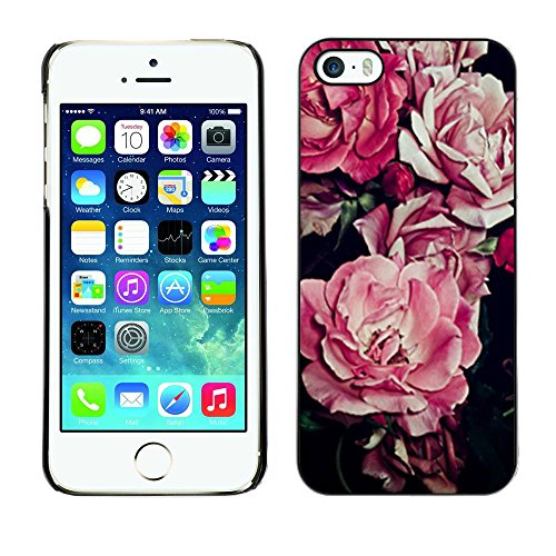 Plastic Shell Protective Case Cover || Apple iPhone 5 / 5S || Flower Floral Pattern Black @XPTECH