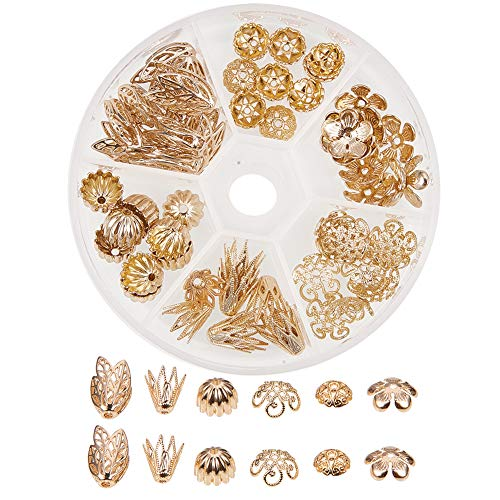 PandaHall Elite About 60 Pcs Brass Flower Petal Filigree Bead Caps 6 Styles for Jewelry Making Golden ()