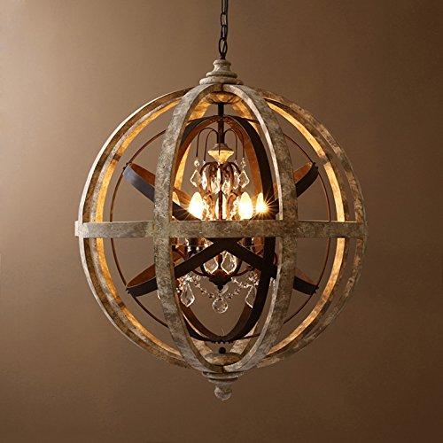 Lovedima Retro Rustic Weathered Wooden Globe Metal Orb Crystal 5-Light Pendant Lighting Chandelier Ceiling Light